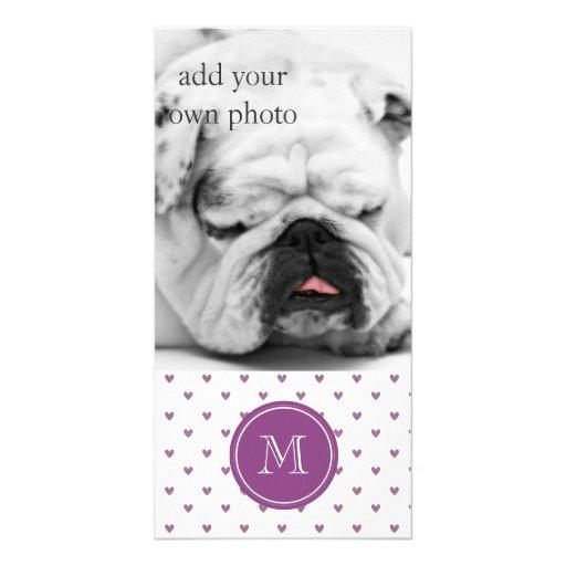 Plum Glitter Hearts with Monogram Photo Greeting Card