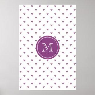 Plum Glitter Hearts with Monogram Print