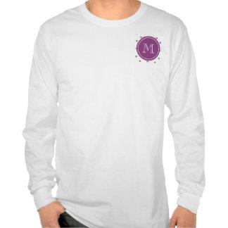 Plum Glitter Hearts with Monogram Tee Shirts