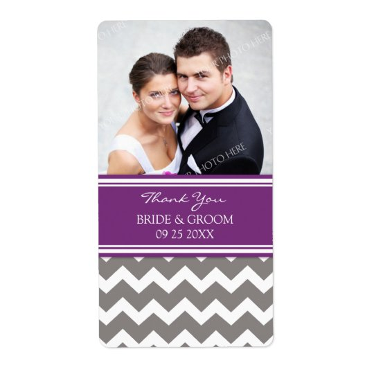 Plum Grey Chevron Photo Wedding Labels