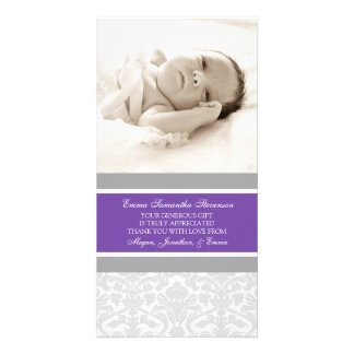 Plum Grey Thank You Baby Shower Photo Cards