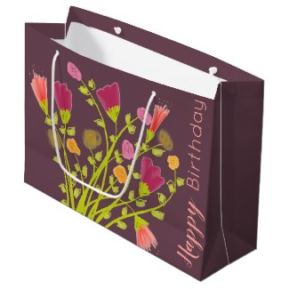 Plum Happy Birthday Gift Bag With Floral