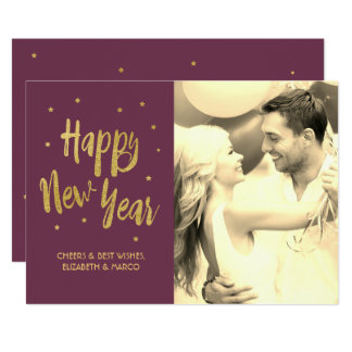 Plum Happy New Year Holiday Card