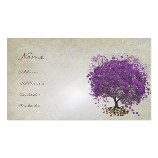 Plum Heart Leaf Tree Roots Swirls Hearts Business Cards