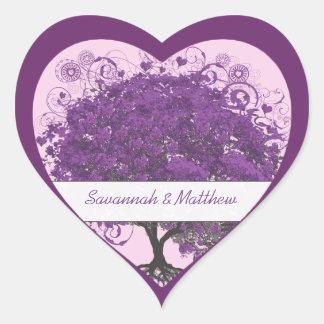 Plum Heart Leaf Tree Wedding Seal Heart Sticker