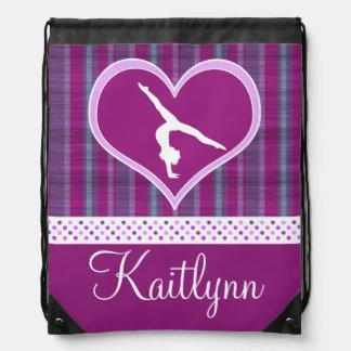 Plum Heart w/ Aqua Stripes and Polka-Dots Gymnast Drawstring Bag