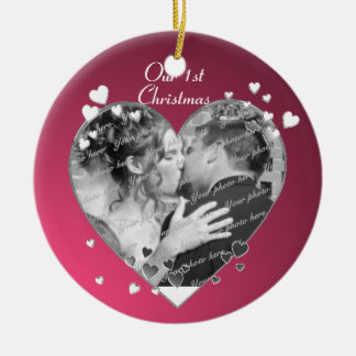Plum Hearts and Ribbon Photo Christmas Ornament