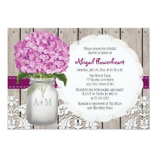 Plum Hydrangea Mason Jar Bridal Shower 13 Cm X 18 Cm Invitation Card