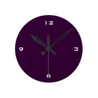 Plum Minimal Plain Basic Simple White Numbers Round Clock