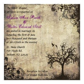 Plum New Life Vintage Wedding Invitation