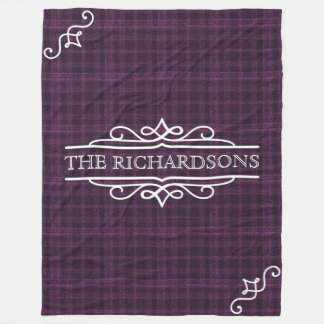 Plum Plaid Wedding Anniversary Personalized Text Fleece Blanket