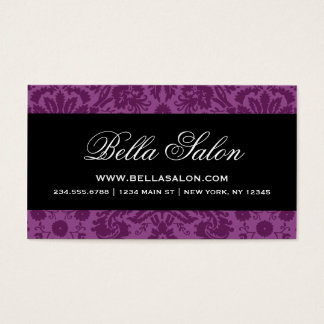 Plum Purple and Black Elegant Vintage Damask Business Card