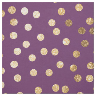 Plum Purple and Gold Glitter City Dots Fabric
