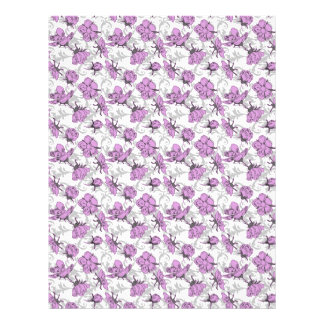 Plum Purple and Gray Vintage Floral Pattern Personalized Flyer