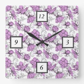 Plum Purple and Gray Vintage Floral Pattern Square Wall Clock
