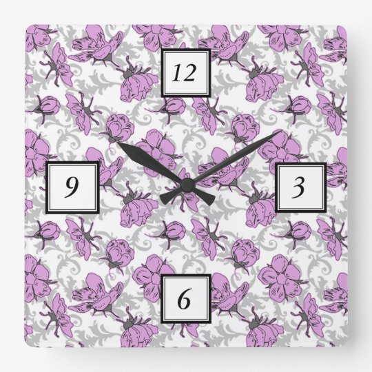 Plum Purple and Grey Vintage Floral Pattern Square
