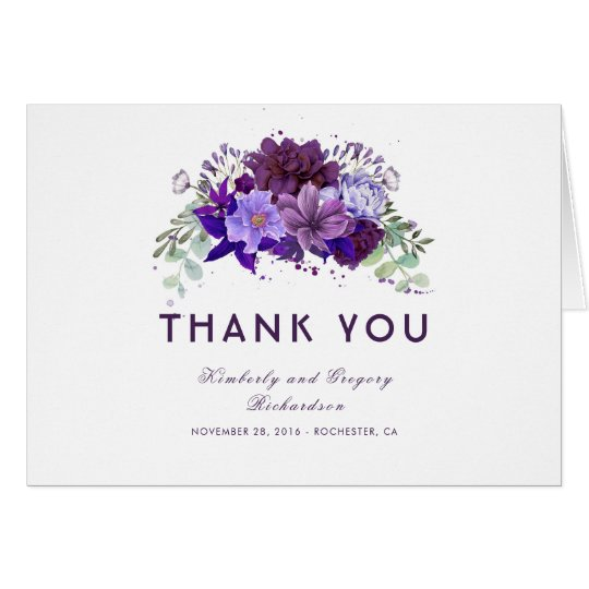 Plum Purple and Violet Floral Wedding Thank You