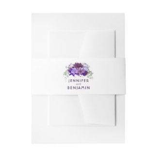 Plum Purple and Violet Flowers Wedding Invitation Belly Band