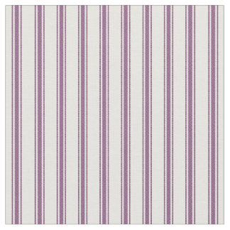Plum Purple and White Classic Ticking Stripes Fabric