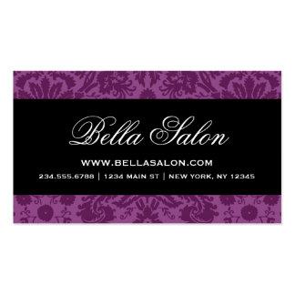 Plum Purple Black Elegant Vintage Damask Business Card