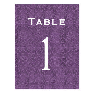 Plum Purple Damask Wedding Table Number 1 C200 Postcard