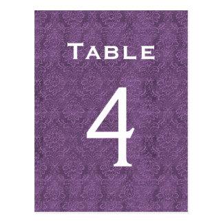 Plum Purple Damask Wedding Table Number 4 C203 Postcard