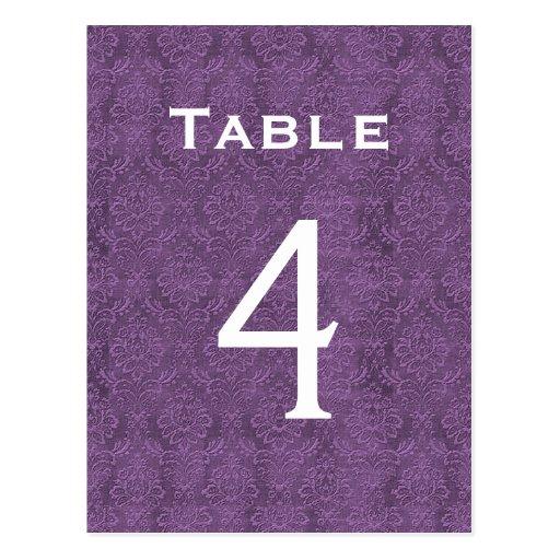 Plum Purple Damask Wedding Table Number 4 C203 Postcards