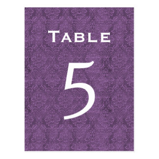 Plum Purple Damask Wedding Table Number 5 C204 Postcard
