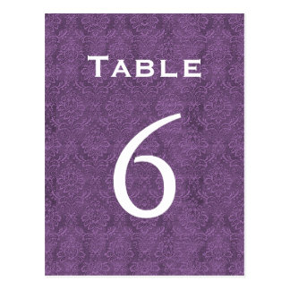 Plum Purple Damask Wedding Table Number 6 C205 Postcard