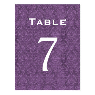 Plum Purple Damask Wedding Table Number 7 C206 Postcard