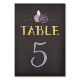 Plum Purple Faux-Gold Chalk Floral Table Number
