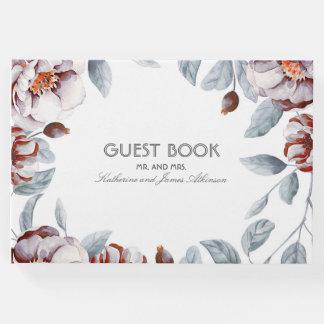 Plum Purple Floral Bouquet Watercolor Chic Wedding Guest Book