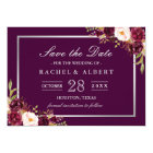 Plum Purple Floral Silver Grey Save the Date Card