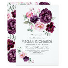 Plum Purple Floral Watercolor Boho Bridal Shower Card