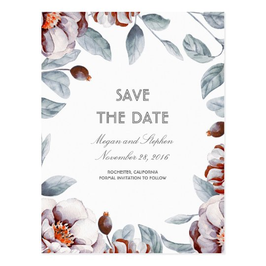 Plum Purple Floral Watercolors Boho Save the Date Postcard