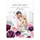 Plum Purple Floral Watercolors Photo Save the Date Postcard