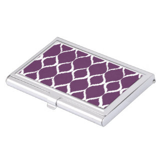 Plum Purple Geometric Ikat Tribal Print Pattern Business Card Holder
