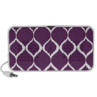 Plum Purple Geometric Ikat Tribal Print Pattern iPhone Speakers