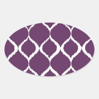Plum Purple Geometric Ikat Tribal Print Pattern Oval Sticker