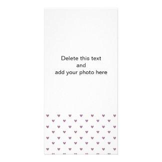 Plum Purple Glitter Hearts Pattern Personalized Photo Card