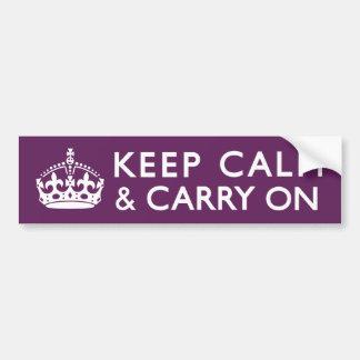 Plum Purple Keep Calm and Carry On Bumper Sticker