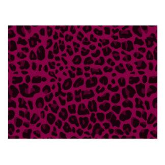 Plum purple leopard print postcard