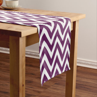 Plum Purple Modern Chevron Stripes Short Table Runner