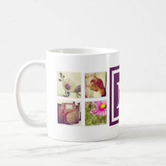 Plum Purple Monogram Instagram Photo Collage Mug