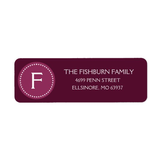 Plum Purple Muted Monogram Custom Monogrammed Return Address Label