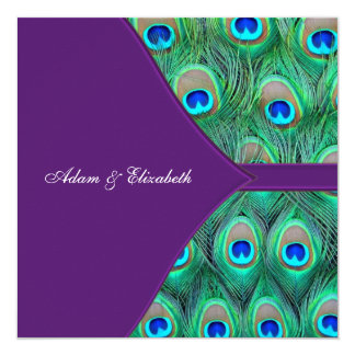 Plum Purple Peacock Wedding 13 Cm X 13 Cm Square Invitation Card