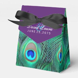 Plum Purple Peacock Wedding Favour Box