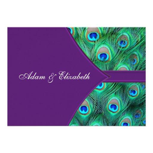Plum Purple Peacock Wedding Invitation