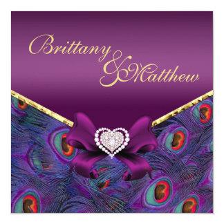Plum Purple Peacock Wedding Invitation Custom Invitations
