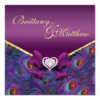 "Plum Purple Peacock Wedding Invitation 5.25"" Square Invitation Card"